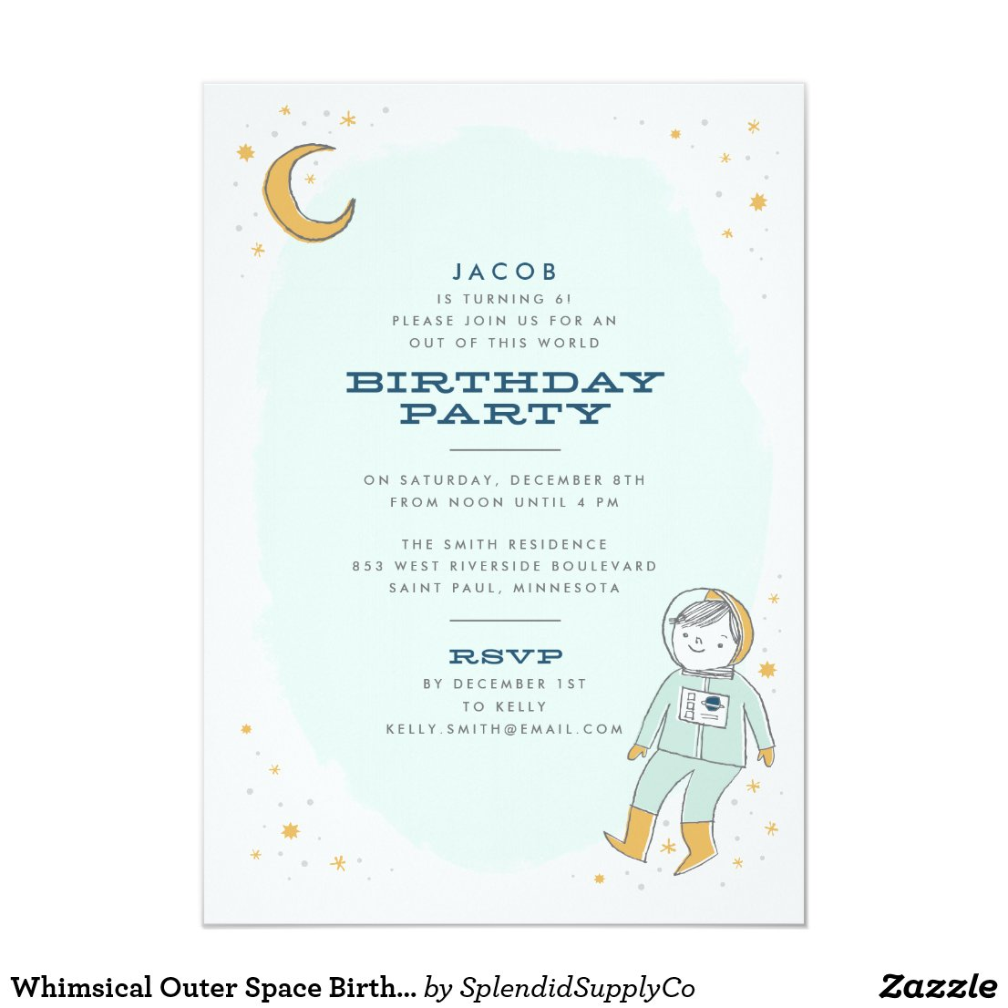 Space Birthday Party Invitations | Personalised Birthday Party ...