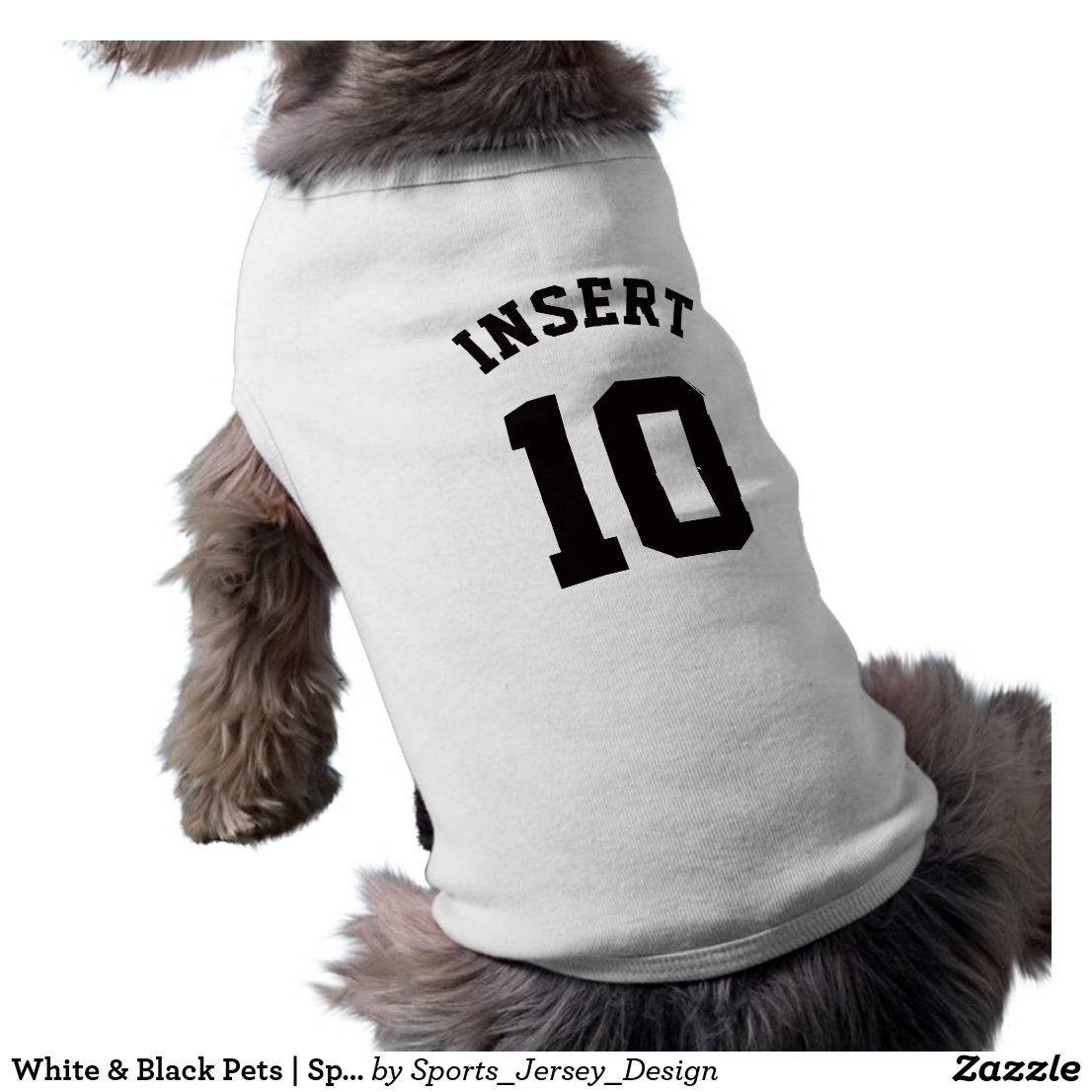 White & Black Pets   Sports Jersey Design Shirt