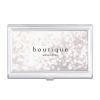 White Bokeh Glitter Modern Fashion & Beauty Business Card Holder