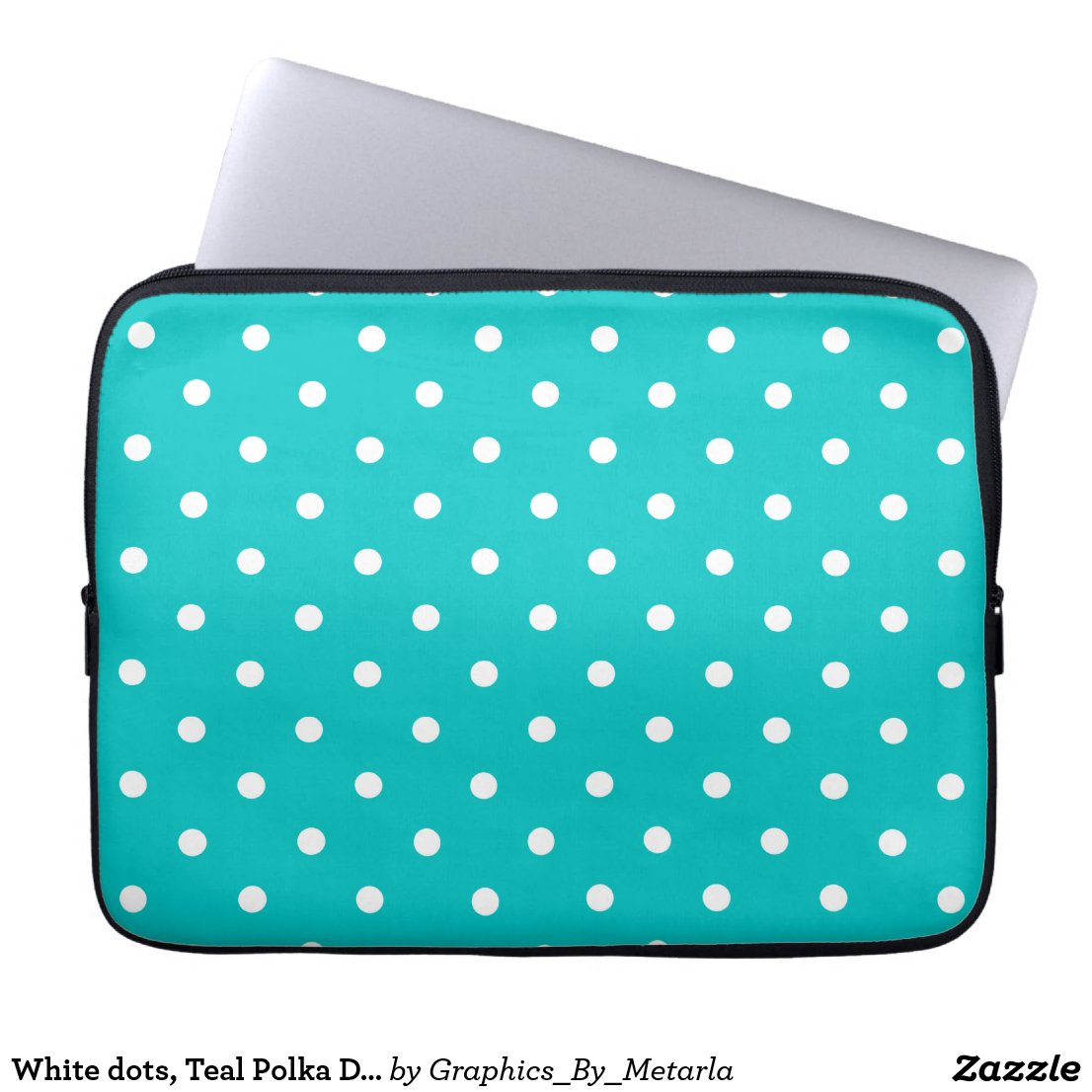 White dots, Teal Polka Dot Pattern.