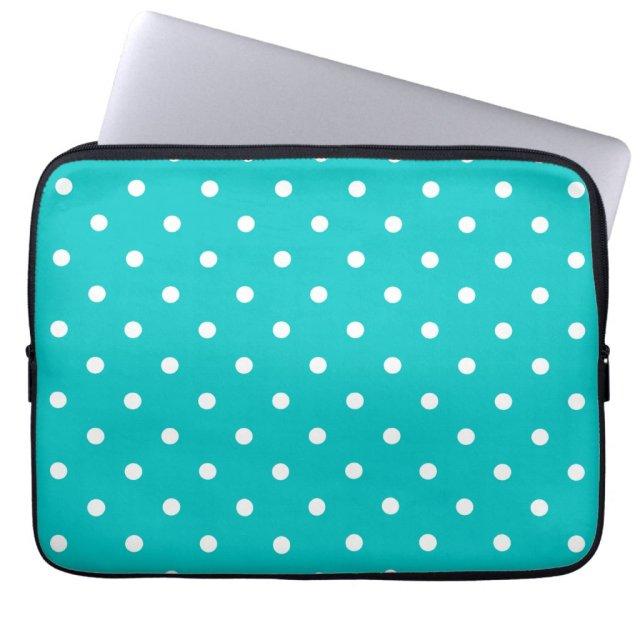 White dots, Teal Polka Dot Pattern.