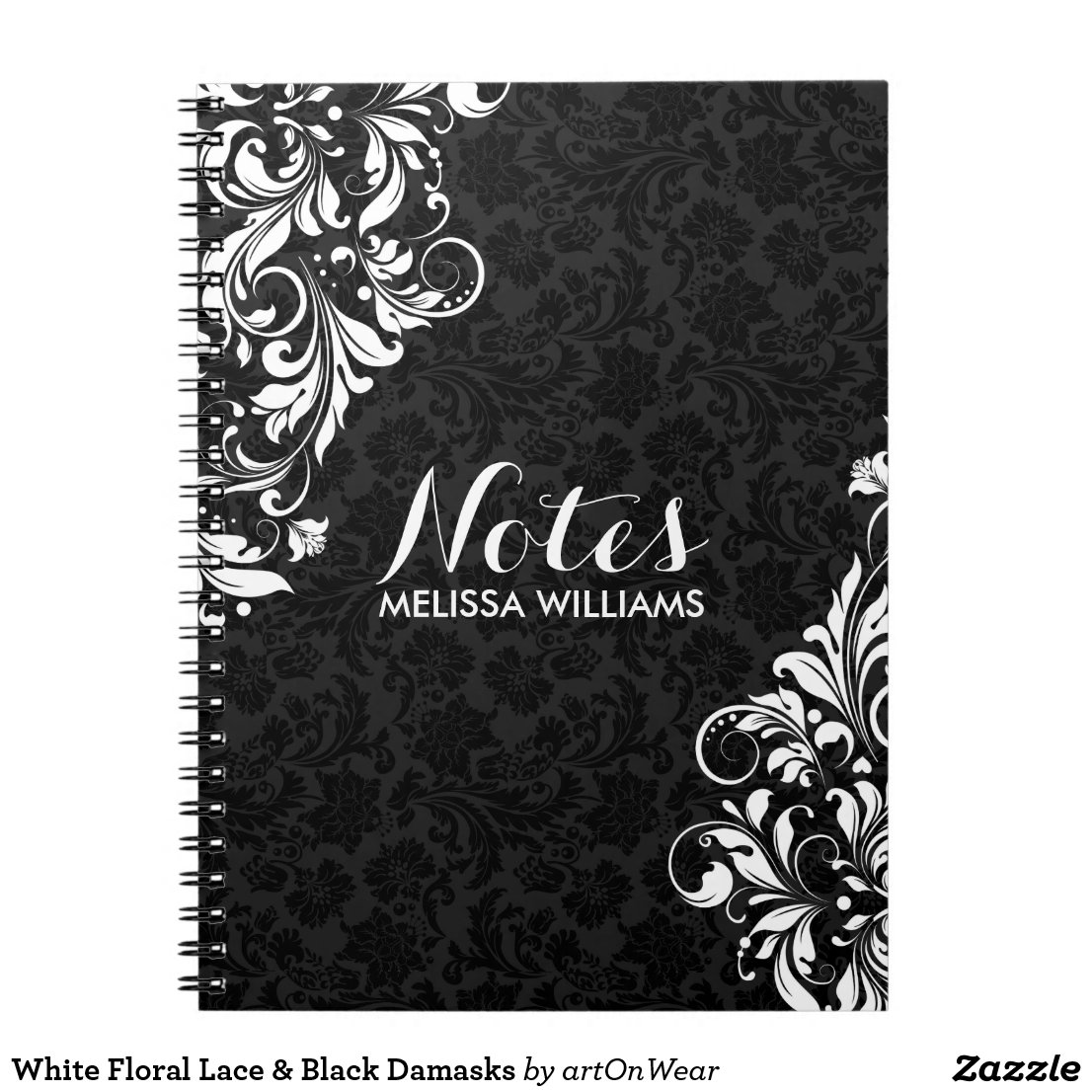 White Floral Lace & Black Damasks Notebook