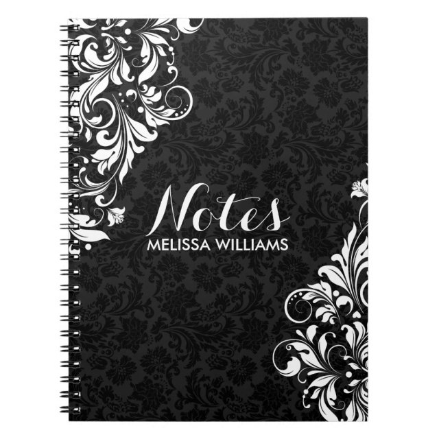 White Floral Lace & Black Damasks Notebook