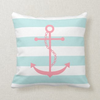 White Mint & Pink Anchor Cushion