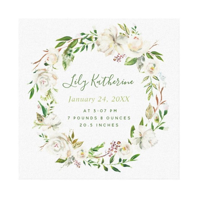 White Painted Floral Personalised Baby Birth Stats Canvas Print