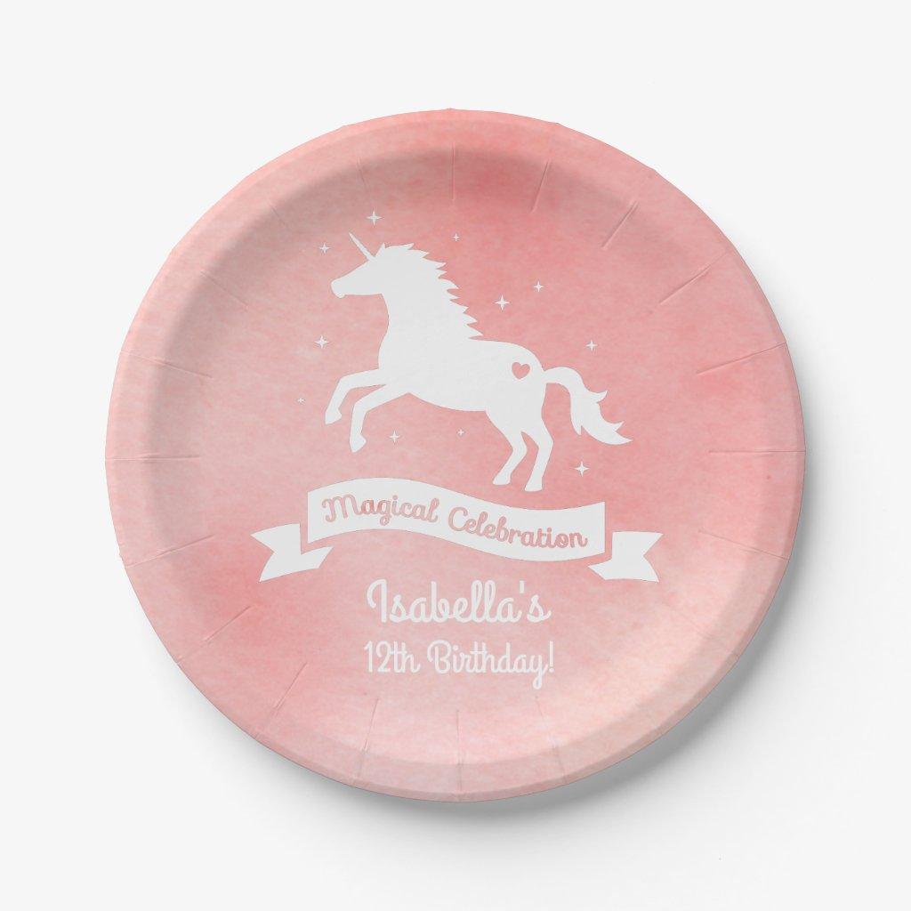 White Unicorn Girls Birthday Party Paper Plates