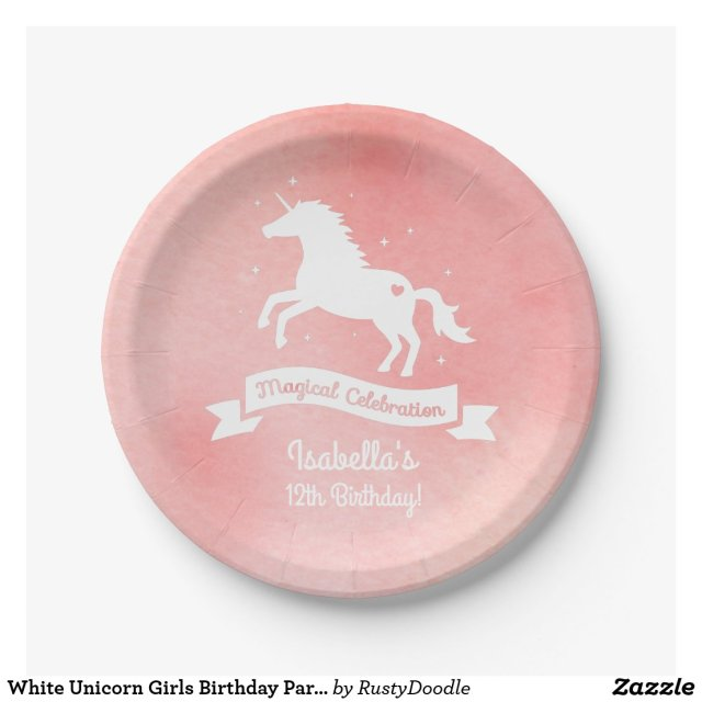 White Unicorn Girls Birthday Party Paper Plates