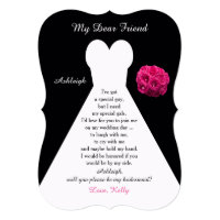 Will You Be My Bridesmaid Gown on Black with Roses Invitation Card
