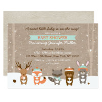 Winter Woodland Animal Baby Shower Invitations