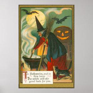 Witch Broom Cauldron Jack O Lantern Bat Cat Poster