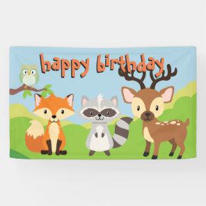 Woodland Animals Theme Birthday Party Banner