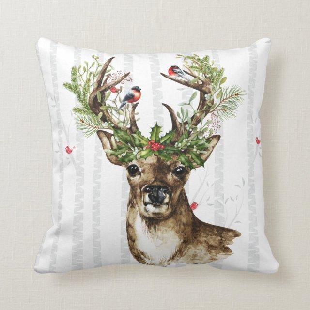 Woodland Christmas Deer Pillow