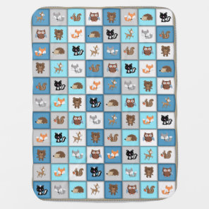 Woodland Patchwork Baby Animals Quiltlike *Blue Baby Blanket