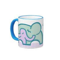 World's Greatest mommy teal elephants mug