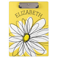 Yellow and White Whimsical Daisy with Custom Text Clipboard