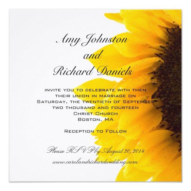 Yellow Black Sunflower Wedding Invitation