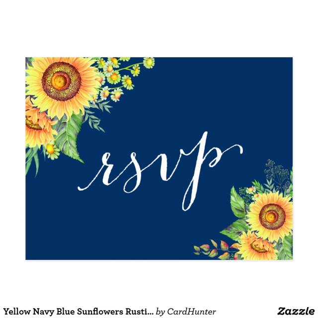 Yellow Navy Blue Sunflowers Rustic Wedding RSVP