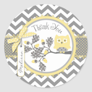 Yellow Owl Chevron Print Thank You Label