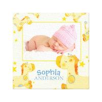 Yellow Safari Giraffes Baby Photo Canvas Prints