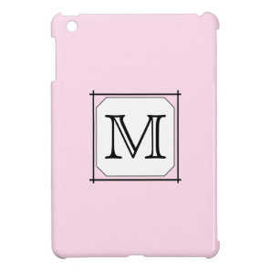 Your Letter. Custom Monogram. Pink Black White. Cover For The iPad Mini