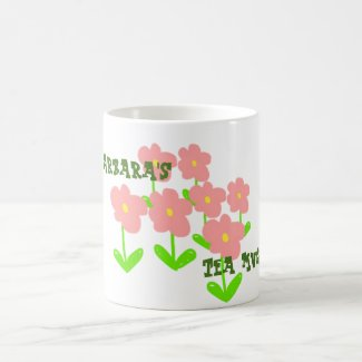 (your name) tea mug with pink flowers