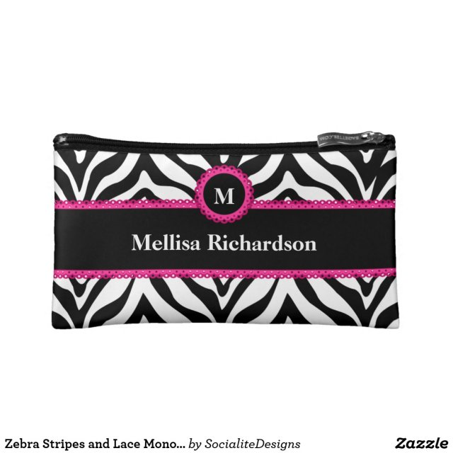 Zebra Stripes and Lace Monogram Cosmetic Bag