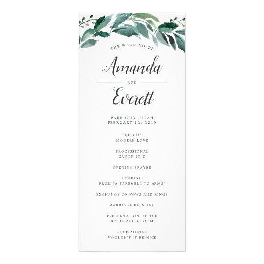 Abundant Foliage Wedding Ceremony Program Rack Card