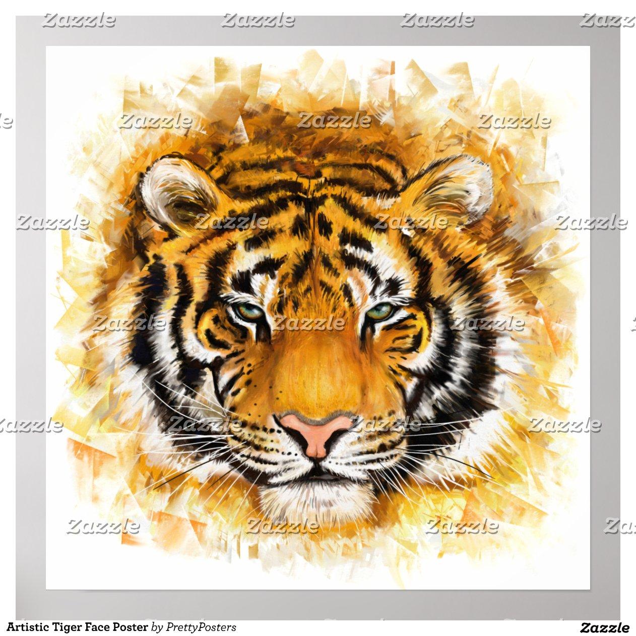 Artistic Tiger Face Poster Zazzle