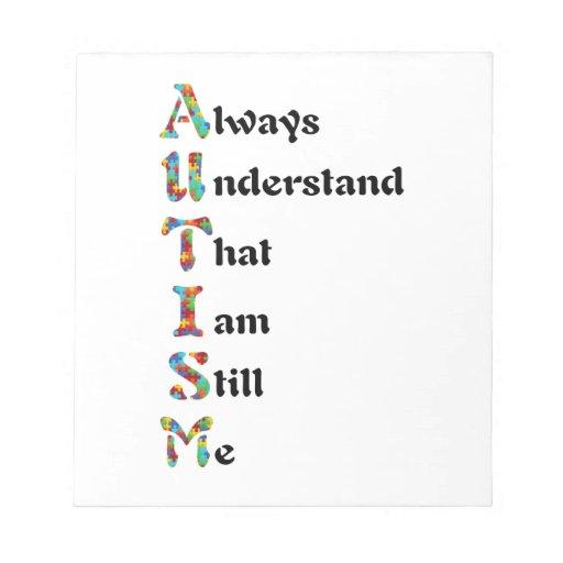 Autistic Acrostic Poem Puzzle Piece Scratch Pads