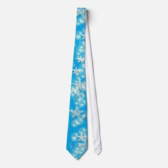 Blue white beach starfish wedding tie Zazzlecomau