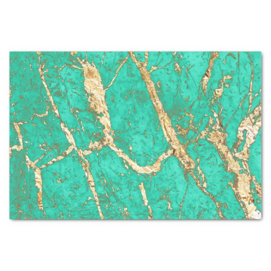 Chic Gold Turquoise Marble Pattern Tissue Paper  Zazzle