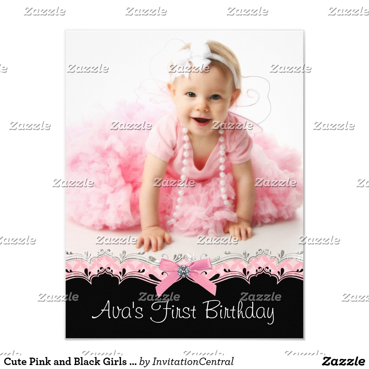 Black and Pink Girls Birthday Party