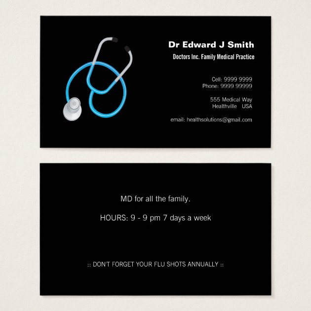 Doctor MD Medical Business Card Design Template Zazzle