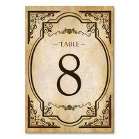 Elegant Vintage Antique Wedding Table Number Card | Zazzle ...