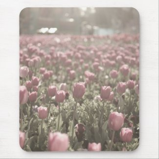 Field of pink tulips mouse mat