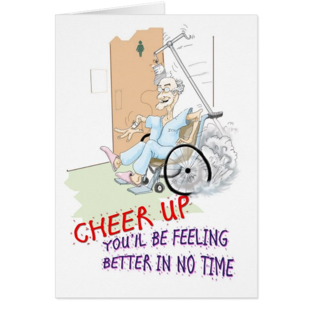 Get Well Soon Card Funny Grandpa In Wheelchair Greeting