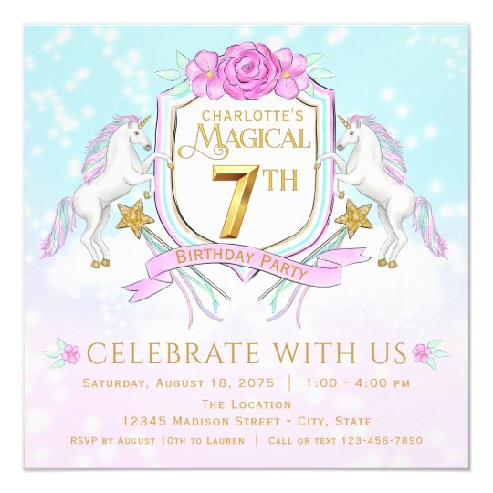 Girls Unicorn 7th Birthday Party Invitations Zazzle Com Au