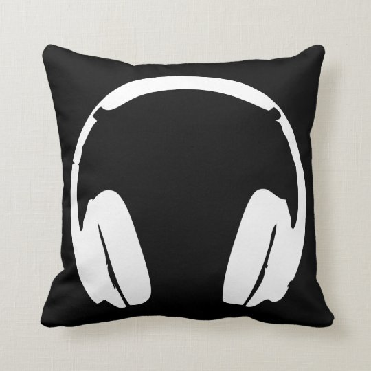 Headphones Pillow Black  White  Zazzlecomau
