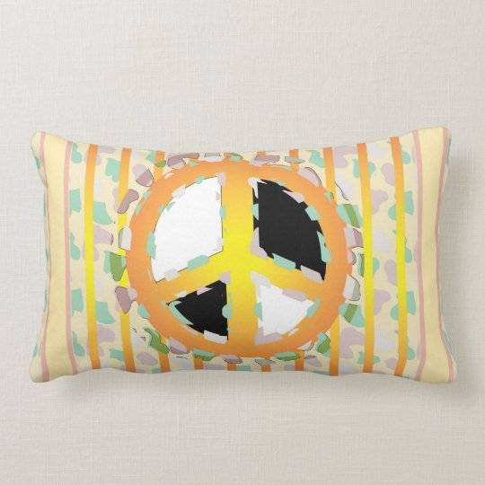 PEACE SIGN CARTOON THROW PILLOW Lumbar Pillow  Zazzle