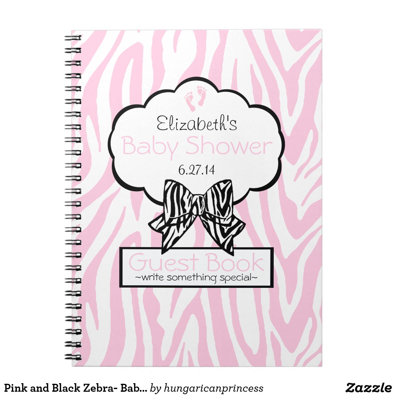Pink Zebra Baby Shower Guest Book Note Zazzle