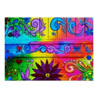 psychedelic hippie mural poster