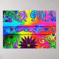 psychedelic hippie mural poster | Zazzle.com.au