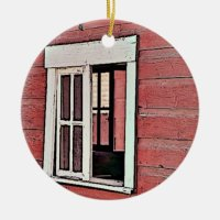 Red Barn Window Round Ceramic Decoration | Zazzle