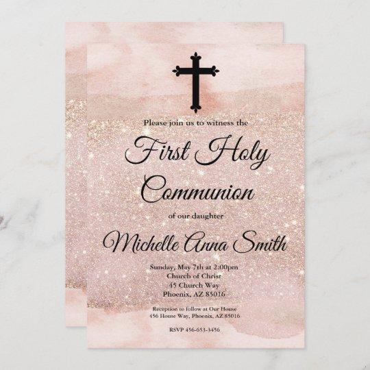 rose gold glitter girl 1st first holy communion invitation