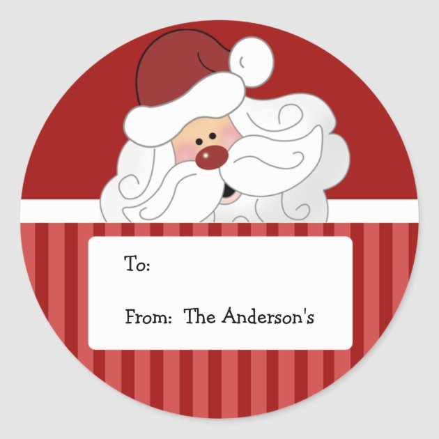 Santa Claus Round Holiday Christmas Tag Stickers Zazzle