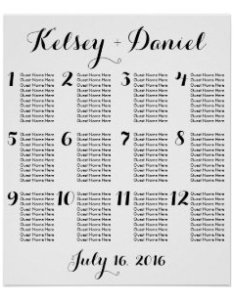 Simple wedding seating chart poster also posters charts zazzle rh