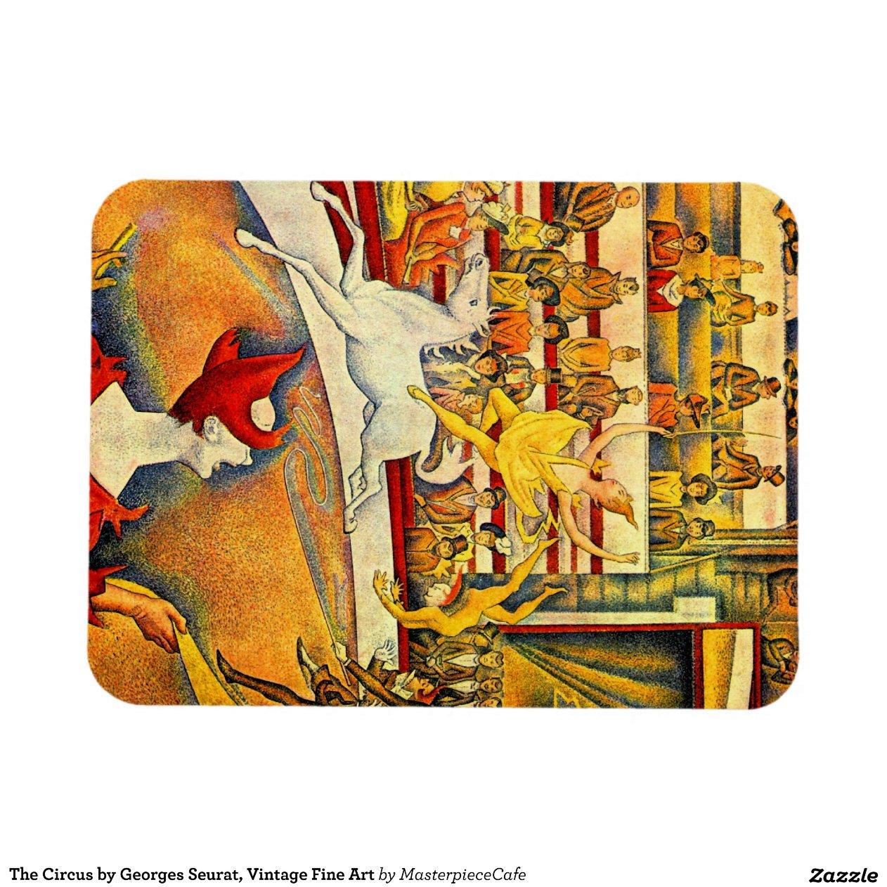 Circus Seurat Vintage Pointillism Fine Art Rectangular Magnet Zazzle