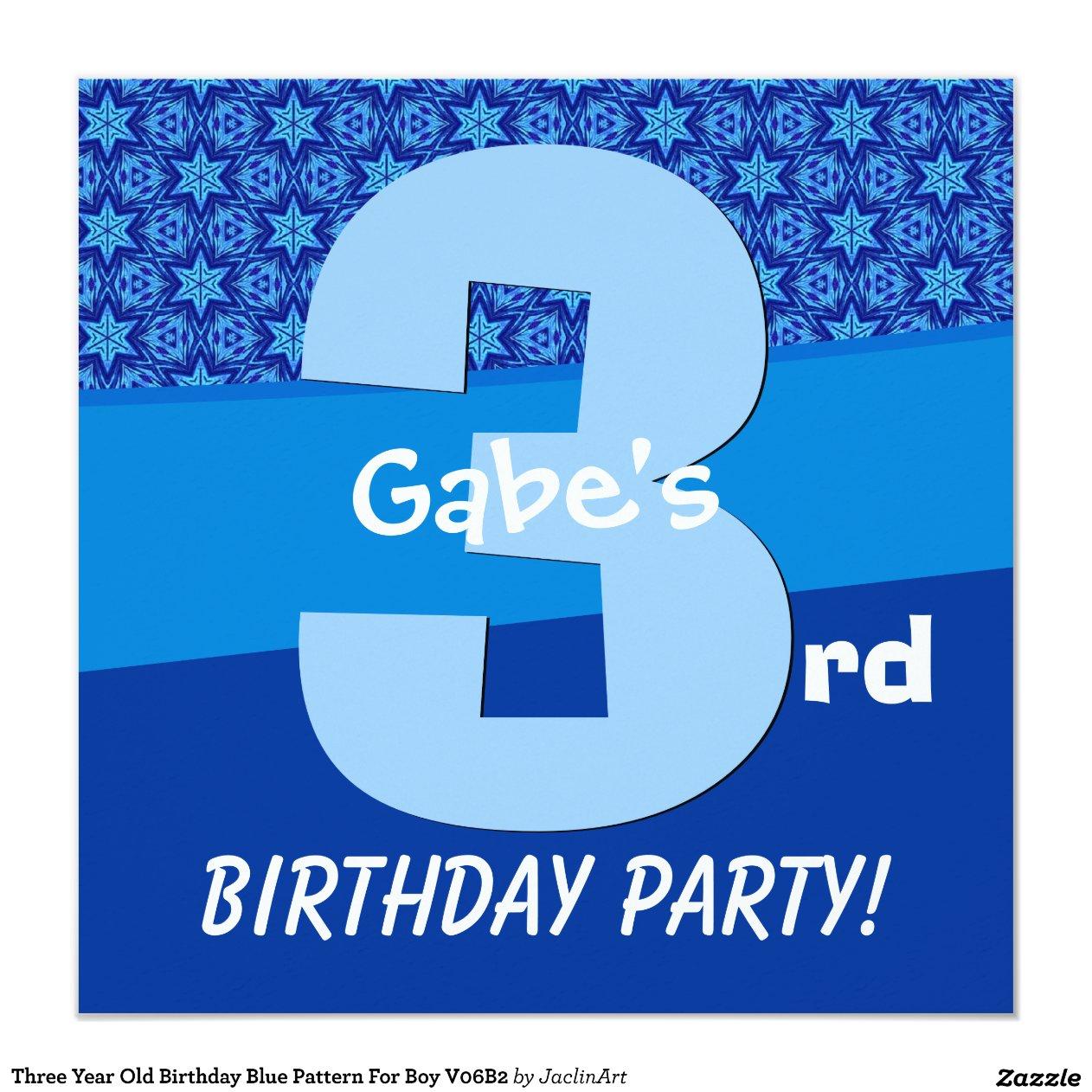 Sports Birthday Party Invitations Three Year Blue Pattern Boy V06b2 13 Cm X