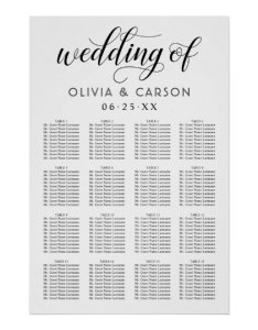 Wedding seating chart poster black and white also zazzle rh