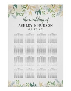 Wedding seating chart poster neutral blooms also zazzle rh